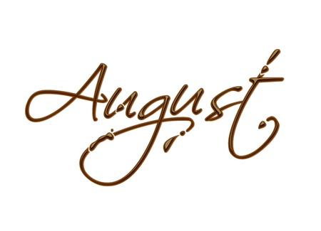 agosto: Mese del testo cioccolato anno in elemento di design vettoriale cioccolato. Vettoriali