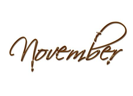 calendario noviembre: Mes del texto de chocolate a�o hizo de elemento de dise�o de chocolate vector.