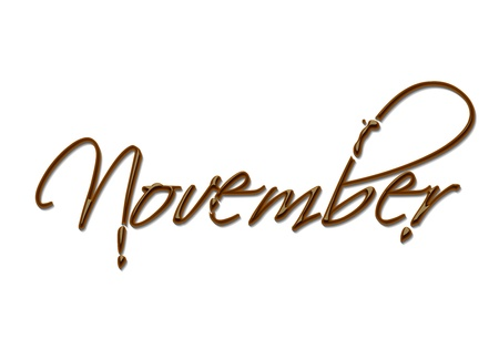 november calendar: Month of the year chocolate text made of chocolate vector design element.