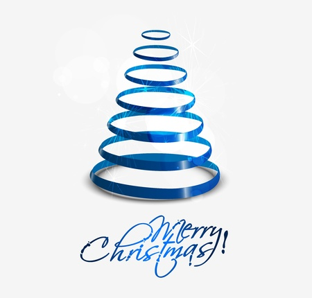 Colorful illustration with decorated blue Christmas tree. Christmas theme  Vector