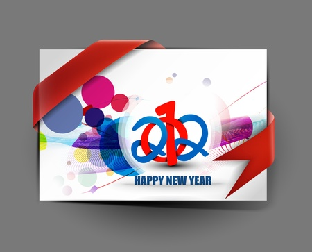 new year gift card with ribborn curl design Vector
