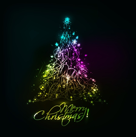 abstract background christmas colorful tree design for text project used.  Vector