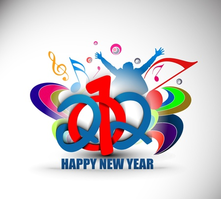 New year 2012 music party poster design. Vector illustration  Vector