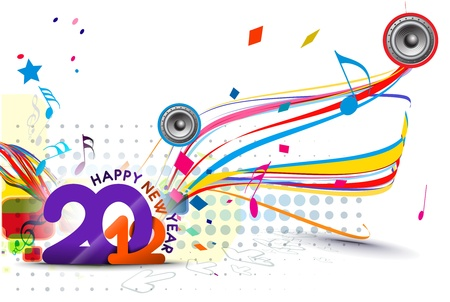 New year 2012 music poster design. Vector illustration  Vector