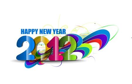 new year 2012 rainbow design background. Vector illustration  Vector