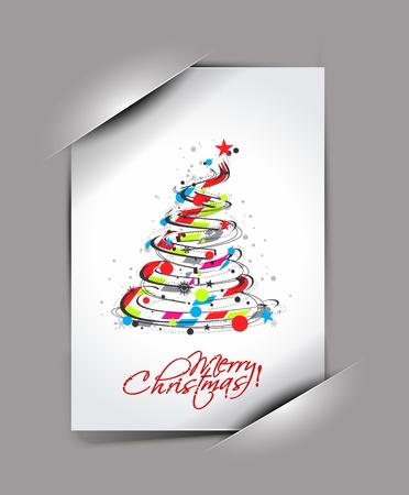 paper curl: tarjeta de felicitaciones para el d�a de fiesta con el dise�o de la esquina rizo, ilustraci�n vectorial