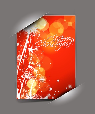 greetings card for holiday with corner curl design, vector illustration  Vector