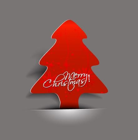 striker: Modern abstract red christmas tree striker, illustration  Illustration