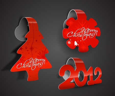abstract red background for new year and for Christmas colorful sticker design. Vector