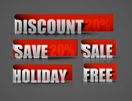Set of red discount sale & more sticker design element. Vector