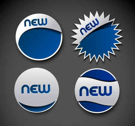 Set of blue new sale sticker design element. Vector