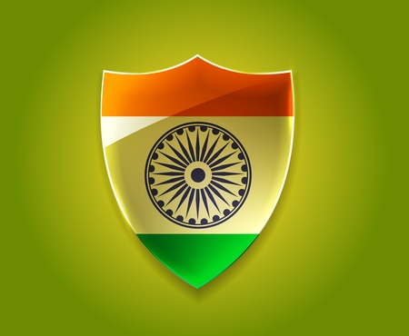 india flag shield design with event original, vector illustration  Vector