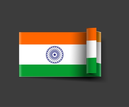 India flag rol-up design with Event Original, vector illustration  Vector