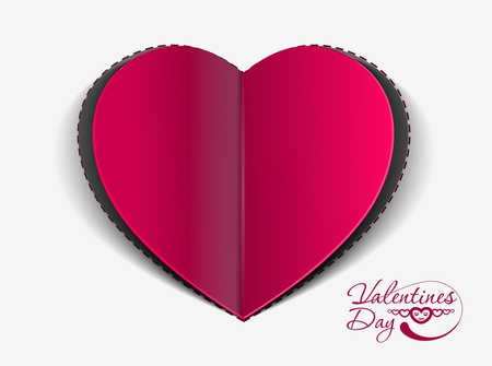 paper curl: valentines day paper curl heart, vector illustration.