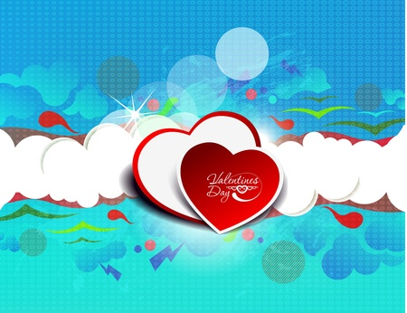 boring frame: Illustration of abstract colorful heart-shaped clouds