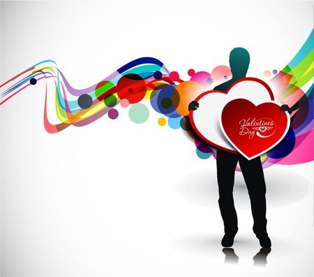 Man hands holding the heart on a white background. Vector illustration. Place for your text. Stock Vector - 12125590
