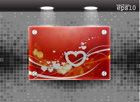 valentine's day realistic glass frame on a wall eps10 Stock Vector - 12166783