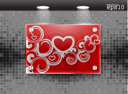 valentines day realistic glass frame on a wall eps10  Vector