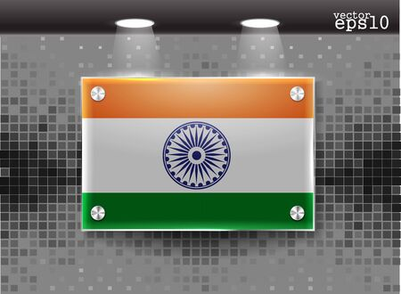Indian flag realistic glass frame on a wall eps10  Vector