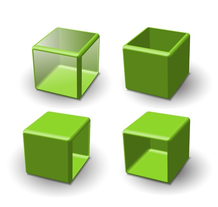 plastic art: Set of 3d cube. Vector illustration.