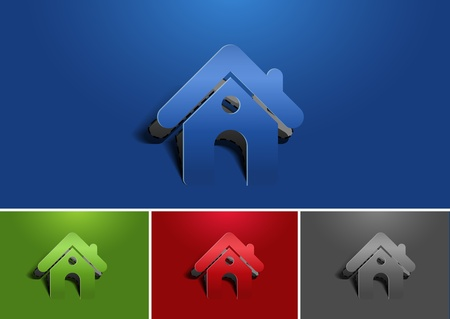 set of paper cut home icon, vector elememt Vector