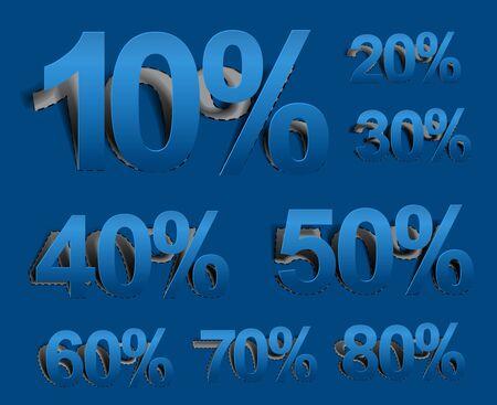 peel off: Set of vector web Sale percents peel off icon design element.