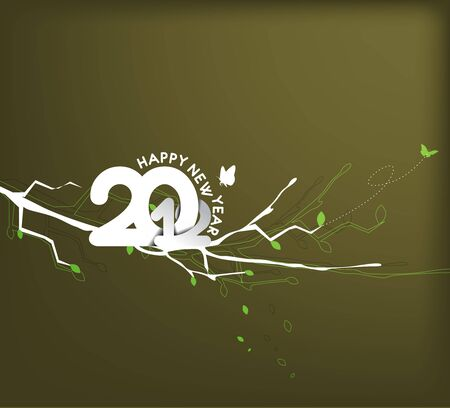 circul: floral background with new year 2012. Vector illustration