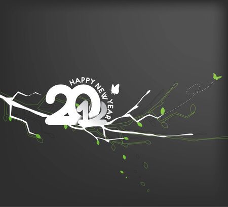 floral background with new year 2012. Vector illustration