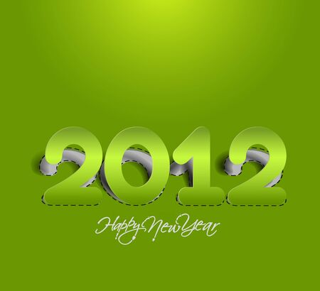 new year 2012 curled corner paper design element. Vector illustration Vector