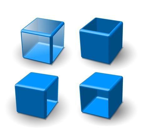 red cube: Set di cubo 3d. Illustrazione vettoriale. Vettoriali