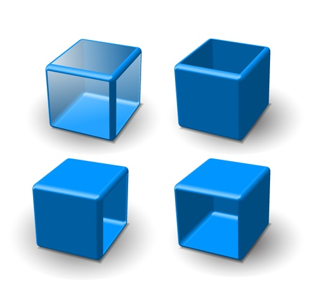 red cube: Set of 3d cube. Vector illustration.