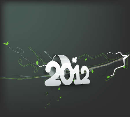 floral background with new year 2012. Vector illustration Vector