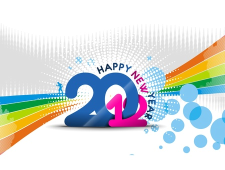 circl: new year 2012 with color full bubble background Illustration