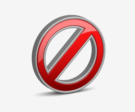 danger do not cross: 3d no advirtiendo icono de vector de se�al