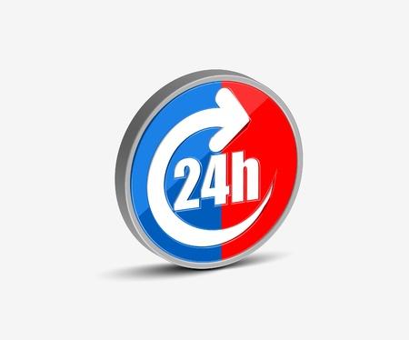 Vector 24 hours icon design element. Illustration