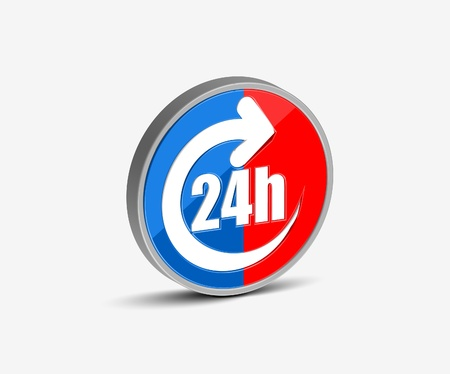 24 hours: Vector 24 hours icon design element. Illustration
