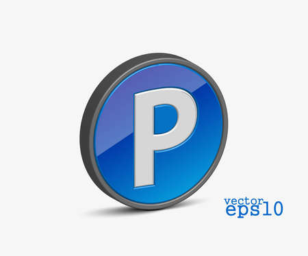 3d vector modern parking icon design element. Vector