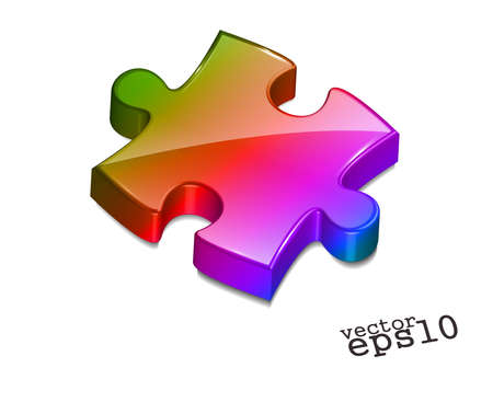 managed: 3d vector puzzle design with isolated on white.