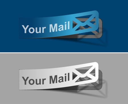 spam mail: Your mail peel off vector web design element.
