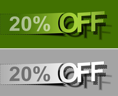 tear off: Set of vector web Sale percents peel off design element.  Illustration