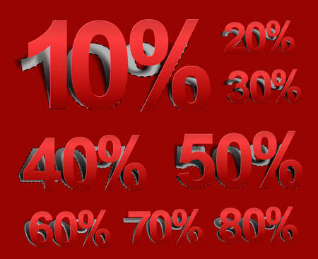 Set of vector web Sale percents peel off design element.  Vector