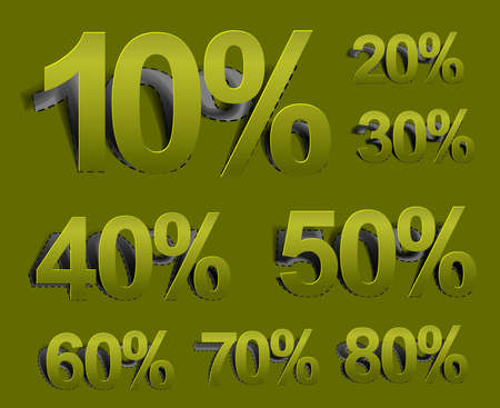 Set of vector web Sale percents peel off design element.  Illustration