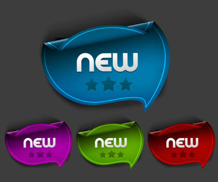 Vector new stickers set. Transparent shadow easy replace background and edit colors.  Vector