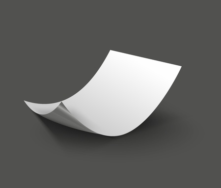 3d blank sheet of paper  Paper page with curl