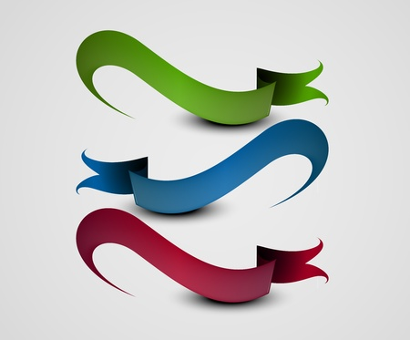 set of curled colorful ribbons, vector illustration Illustration