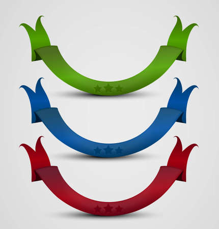 set of curled colorful ribbons, vector illustration Vector