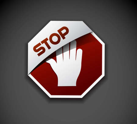 Design of stop banner labels stamps stickers use. Vector
