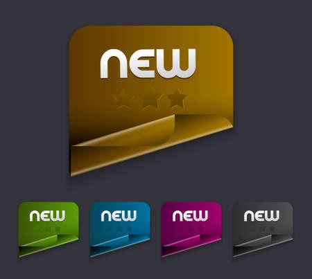 zastąpić: Wektor naklejki nowe. Transparent cień proste tło replace i kolory edytuj.