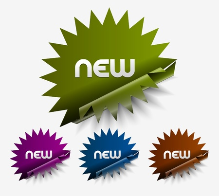 new products: Vector new stickers set. Transparent shadow easy replace background and edit colors.  Illustration