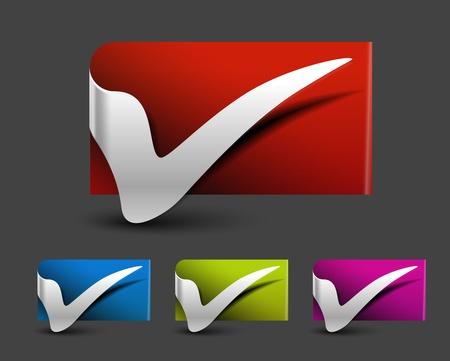 registration mark: Check mark label icon design, vector